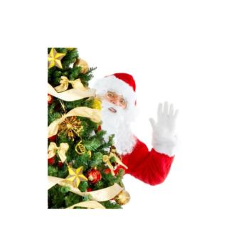 Mikołaj wygląda zza choinki
